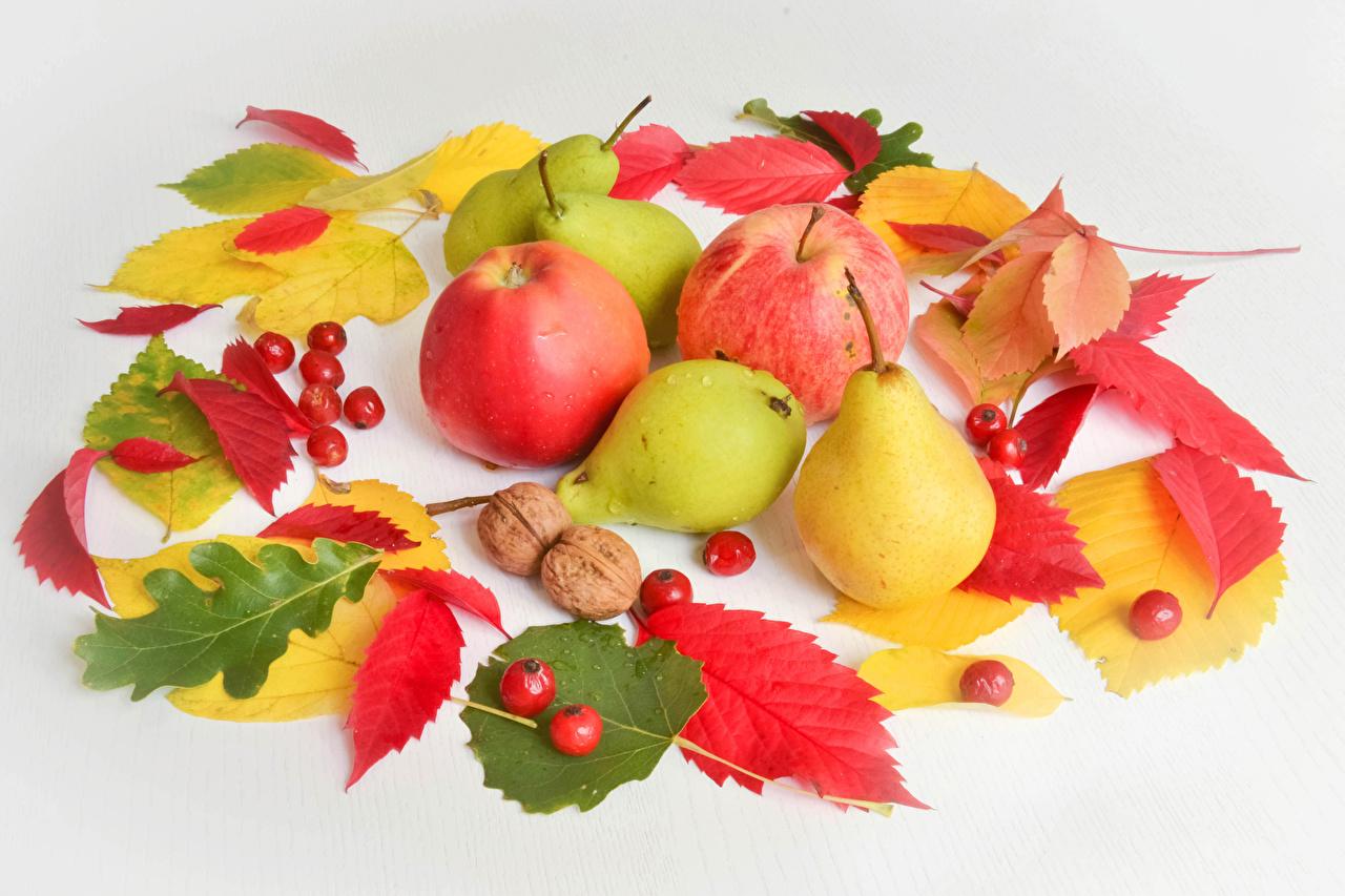 Фотографии лист осенние Груши Яблоки Еда Ягоды Серый фон Листва Листья Осень Пища Продукты питания сером фоне