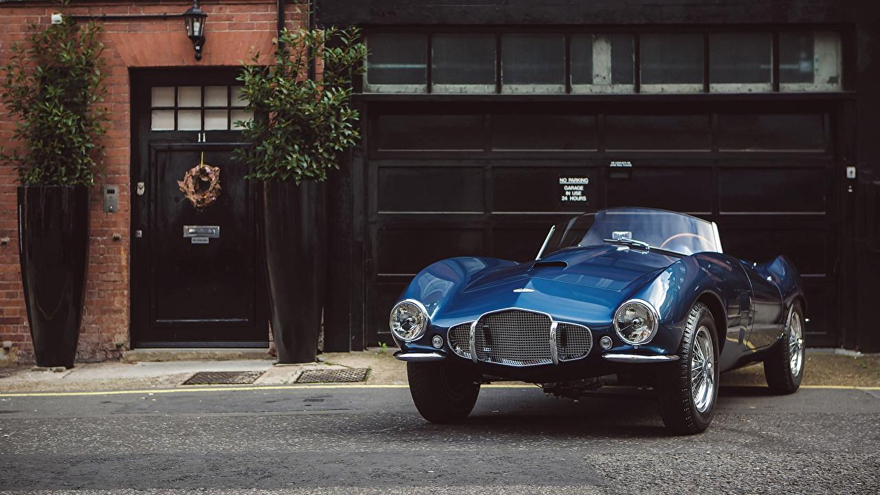 Картинка Aston Martin 1953 DB2-4 Bertone Spider Bertone синяя винтаж Металлик автомобиль Астон мартин синих синие Синий Ретро старинные авто машина машины Автомобили