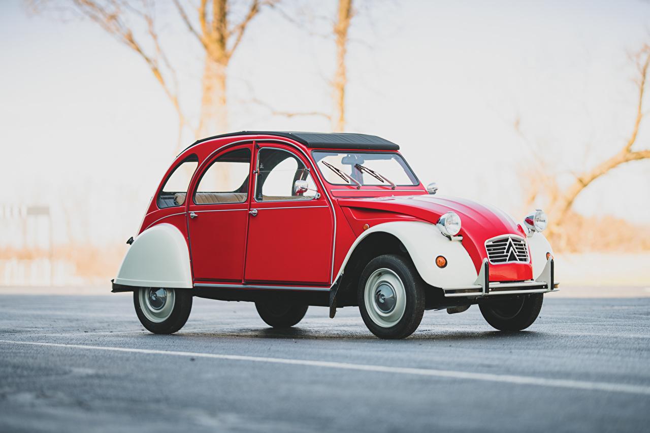 Фотографии Ситроен 2CV6, Special, 1975–90 Ретро Красный авто Сбоку Citroen винтаж красная красные красных старинные машина машины Автомобили автомобиль
