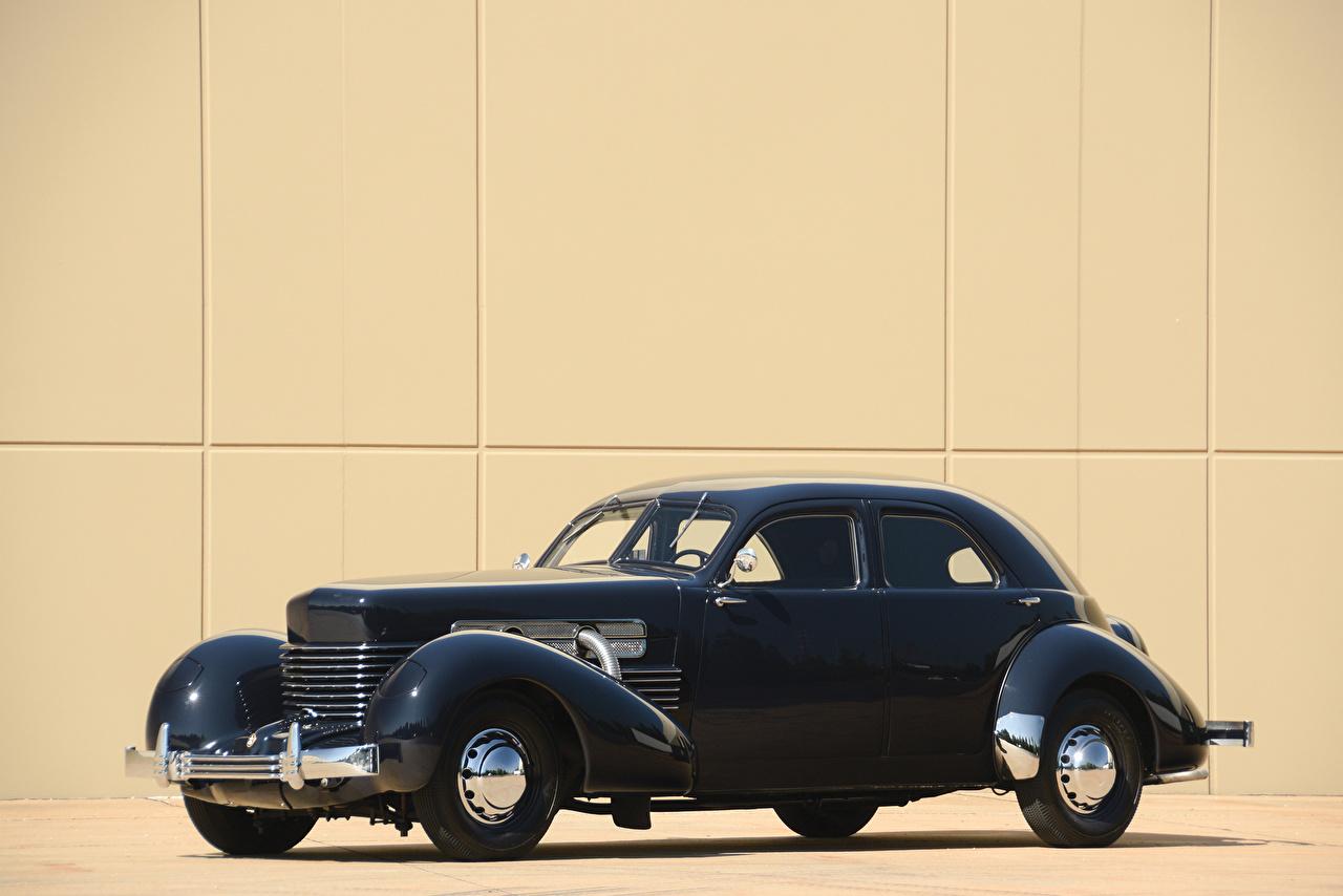 Обои для рабочего стола 1937 Cord 812 Custom Beverly Sedan Bustlback Седан синяя Винтаж машина Металлик синих синие Синий Ретро старинные авто машины автомобиль Автомобили