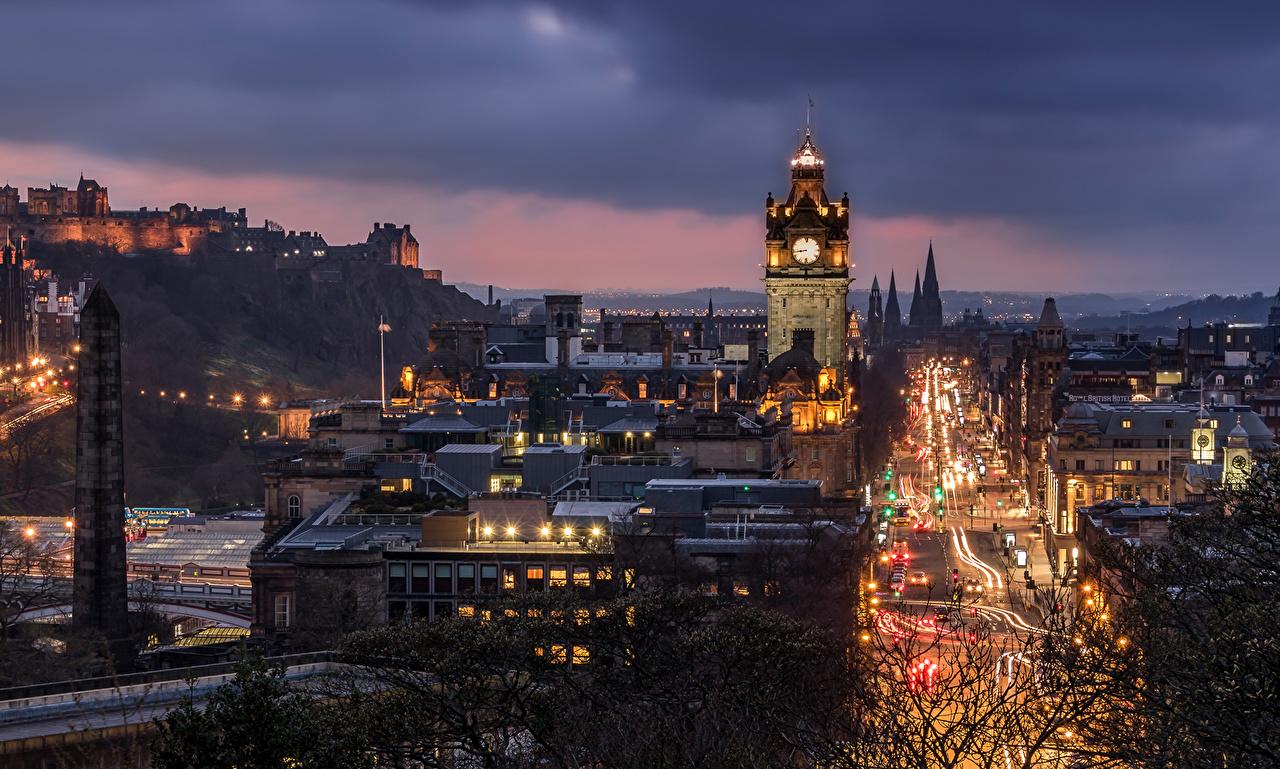Обои Облака, эдинбург, Шотландия, свет, дома. Города foto 7