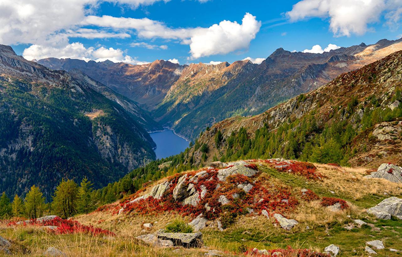 Фотографии Альпы Швейцария Ticino, Sambuco reservoir гора Природа Пейзаж Камень Облака альп Горы Камни облако облачно