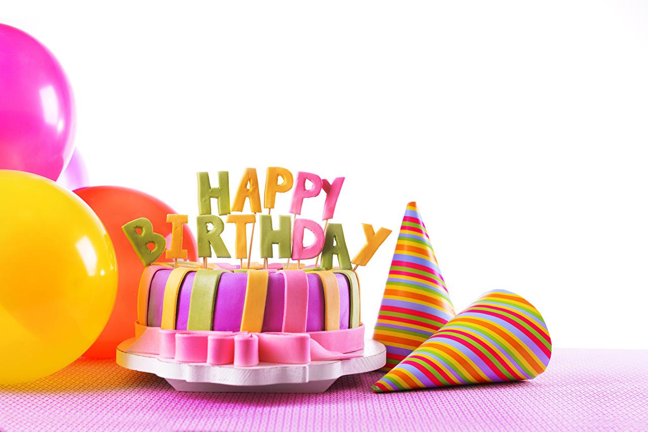 Фотография День рождения Торты Еда Белый фон Праздники Пища Продукты питания белом фоне белым фоном
