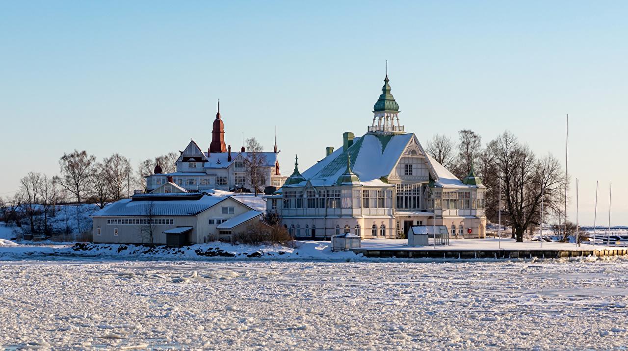 Картинки Хельсинки Финляндия Зима снеге Особняк Дома Города зимние Снег снега снегу город Здания