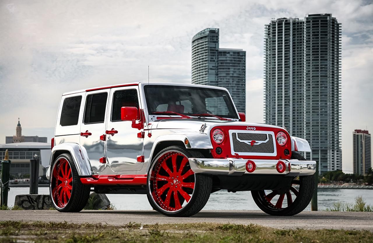 Картинка Jeep Тюнинг Wrangler серебряный Автомобили Джип Стайлинг серебряная Серебристый серебристая авто машины машина автомобиль
