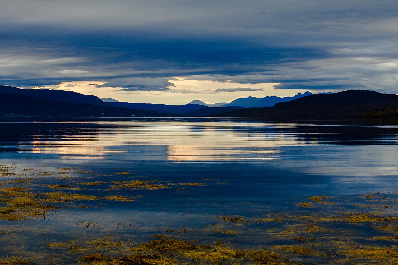 Фотография Лофотенские острова Норвегия гора Природа Вечер заливы Горы Залив залива