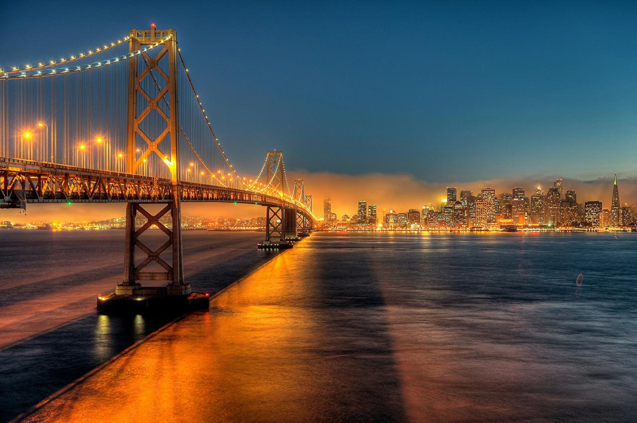 Фотографии калифорнии Сан-Франциско америка Bay Bridge мост в ночи Уличные фонари город Калифорния США штаты Мосты Ночь ночью Ночные Города
