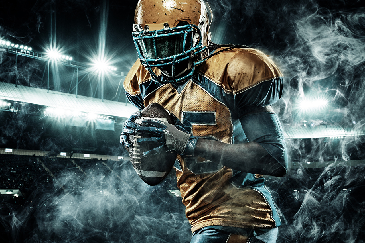 Фото Мужчины перчатках Американский футбол спортивная Мяч Униформа мужчина Перчатки Спорт спортивный спортивные Мячик униформе