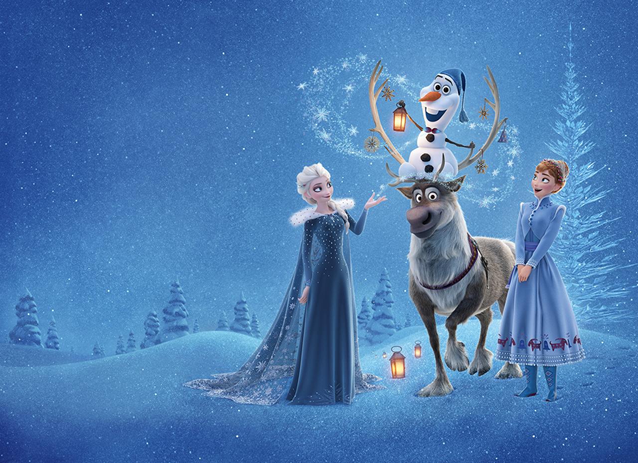 Фотографии Дисней Холодное сердце Олени Elsa, Olaf, Anna, Sven мультик молодые женщины Disney девушка Девушки Мультики Мультфильмы молодая женщина