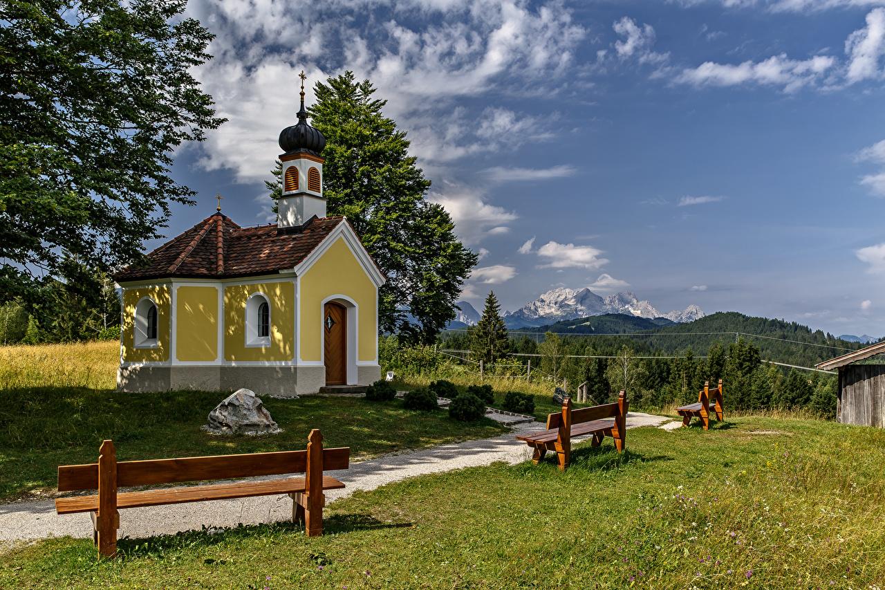 Фотография Церковь Бавария Альпы Германия Горы Природа Скамейка альп гора Скамья