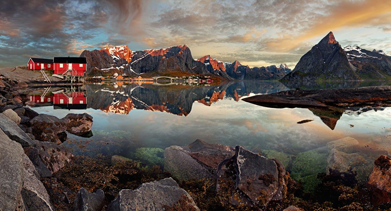 Фотография Лофотенские острова Норвегия Деревня Reine Горы Природа Камни Дома Камень Здания