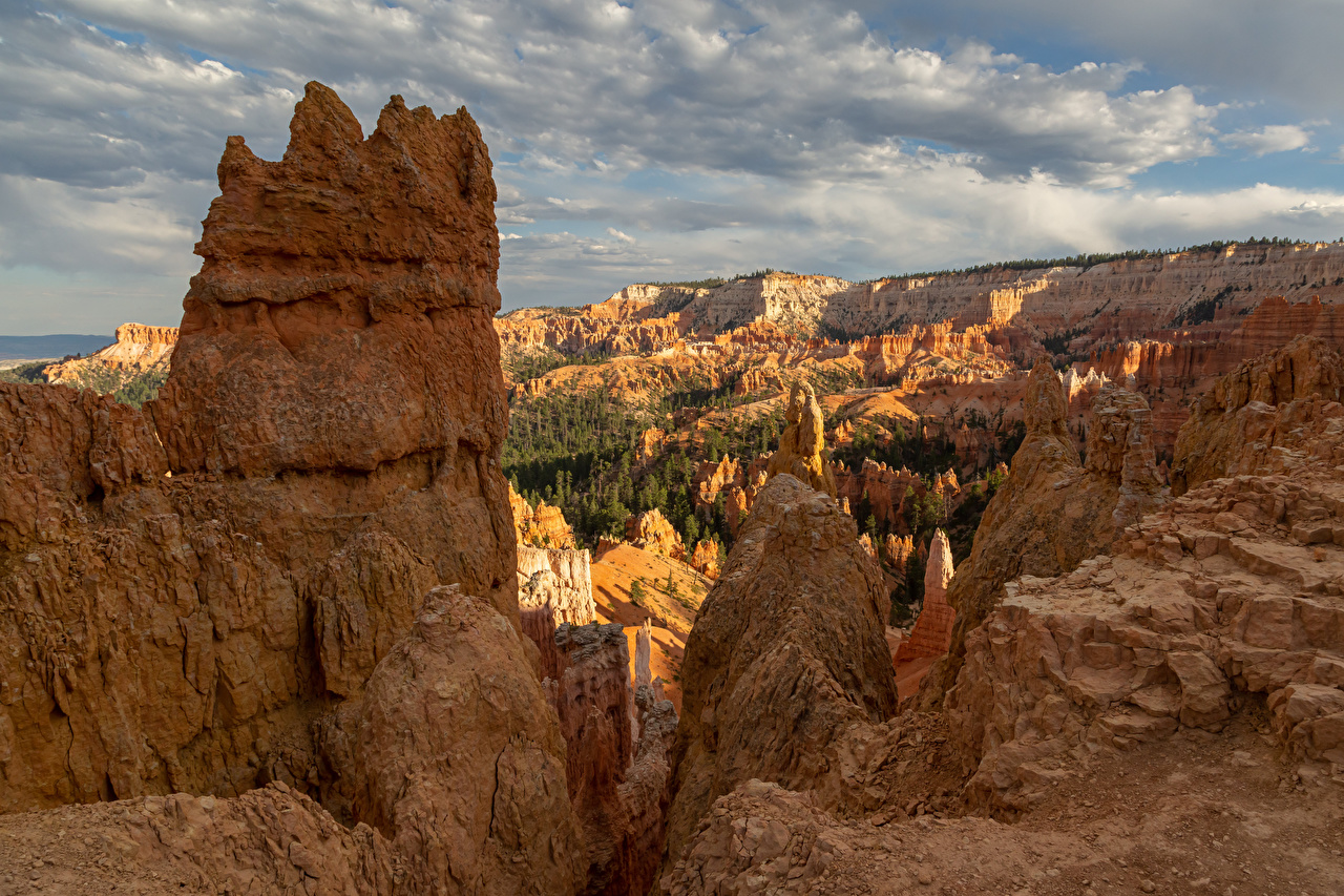 Обои для рабочего стола америка Bryce Canyon National Park скале каньона Природа парк США штаты Утес Скала скалы Каньон каньоны Парки