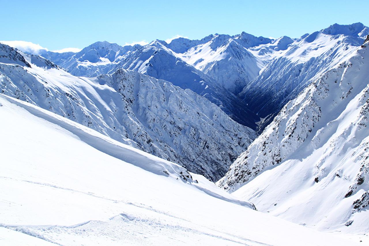 Фото Новая Зеландия Methven Heli-Skiing Горы Зима Природа Снег зимние