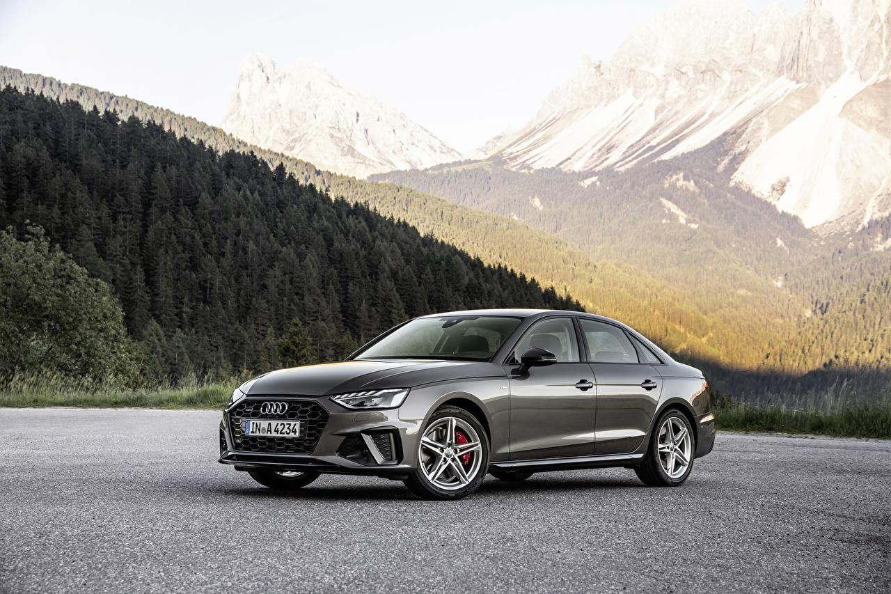 Обои для рабочего стола Audi 2019 A4 45 TFSI quattro S line Worldwide Серый Металлик Автомобили Ауди серые серая авто машина машины автомобиль