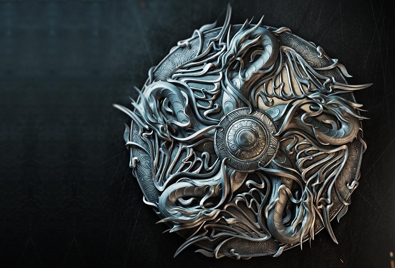 Фото Щит Драконы Sasha Vinogradova, Illustration for book cover Металл щиты дракон с щитом Металлический