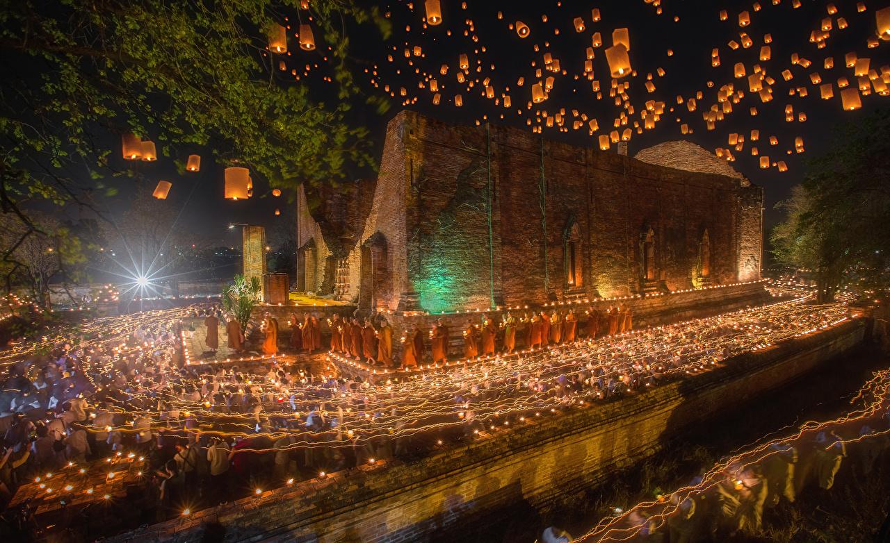 Фотография Таиланд Ayutthaya Ночь Свечи Вечер Храмы Города Ночные