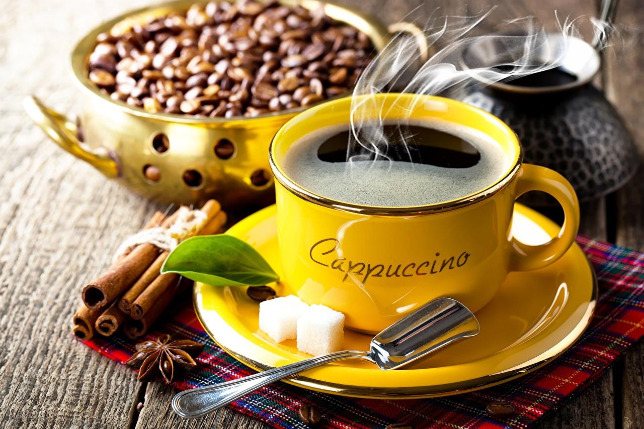 Обои для рабочего стола Кофе Сахар зерно Корица чашке ложки Блюдце Продукты питания сахара Зерна Еда Пища Чашка Ложка блюдца