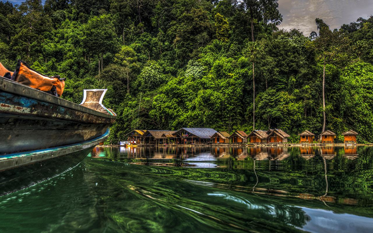 Обои для рабочего стола Таиланд Cheow Lan Lake Khao Sok National Park HDR Природа парк Леса Озеро HDRI лес Парки
