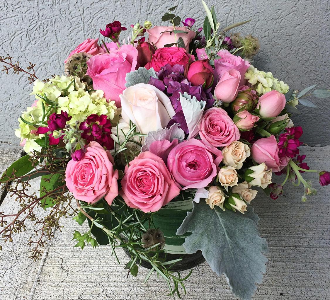 Фото букет роза Цветы Гортензия Букеты Розы цветок