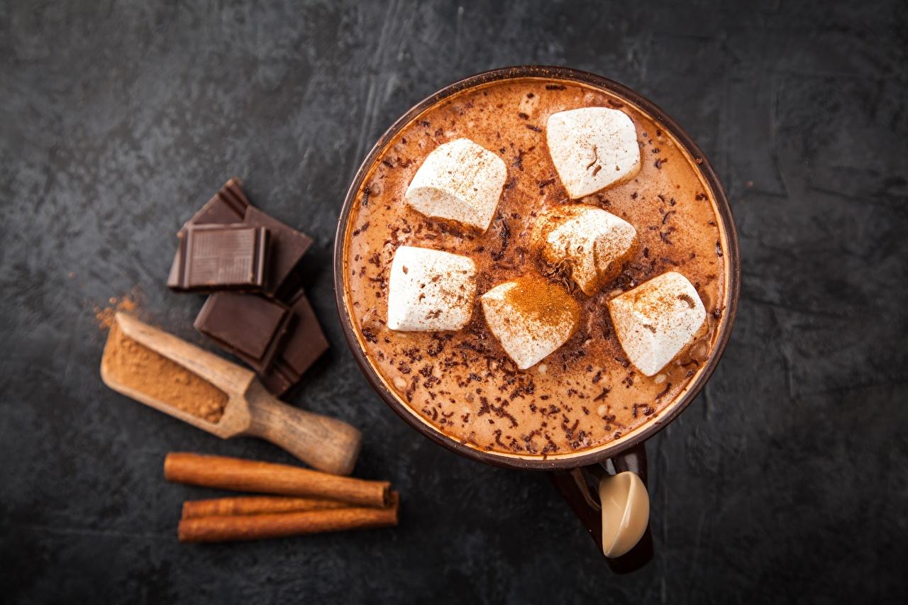 Обои для рабочего стола Горячий шоколад Шоколад Маршмэллоу Какао напиток Продукты питания зефирки Горячий шоколад Еда Пища