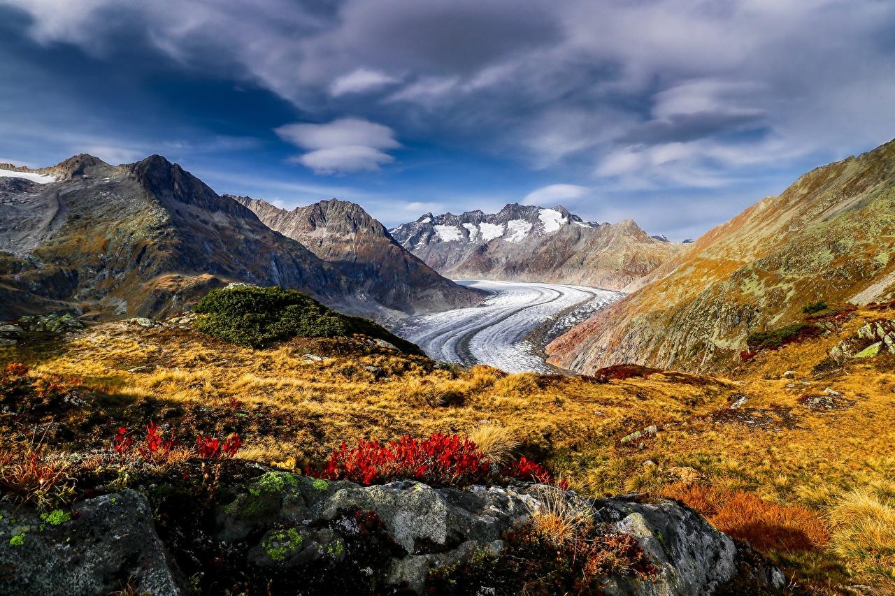 Картинки альп Швейцария Aletsch Glacier Горы Природа Альпы гора