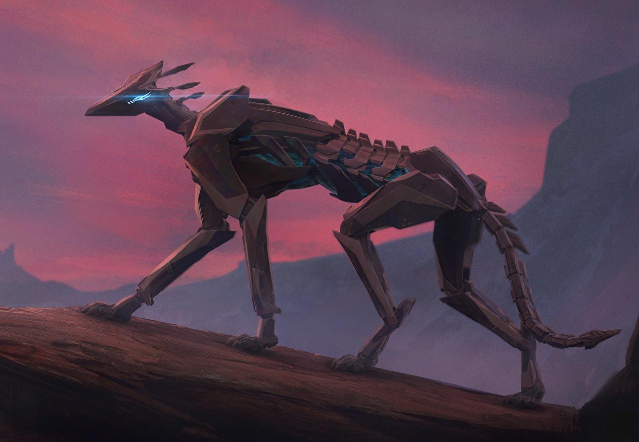 Картинка Робот Фэнтези Животные Фантастика
