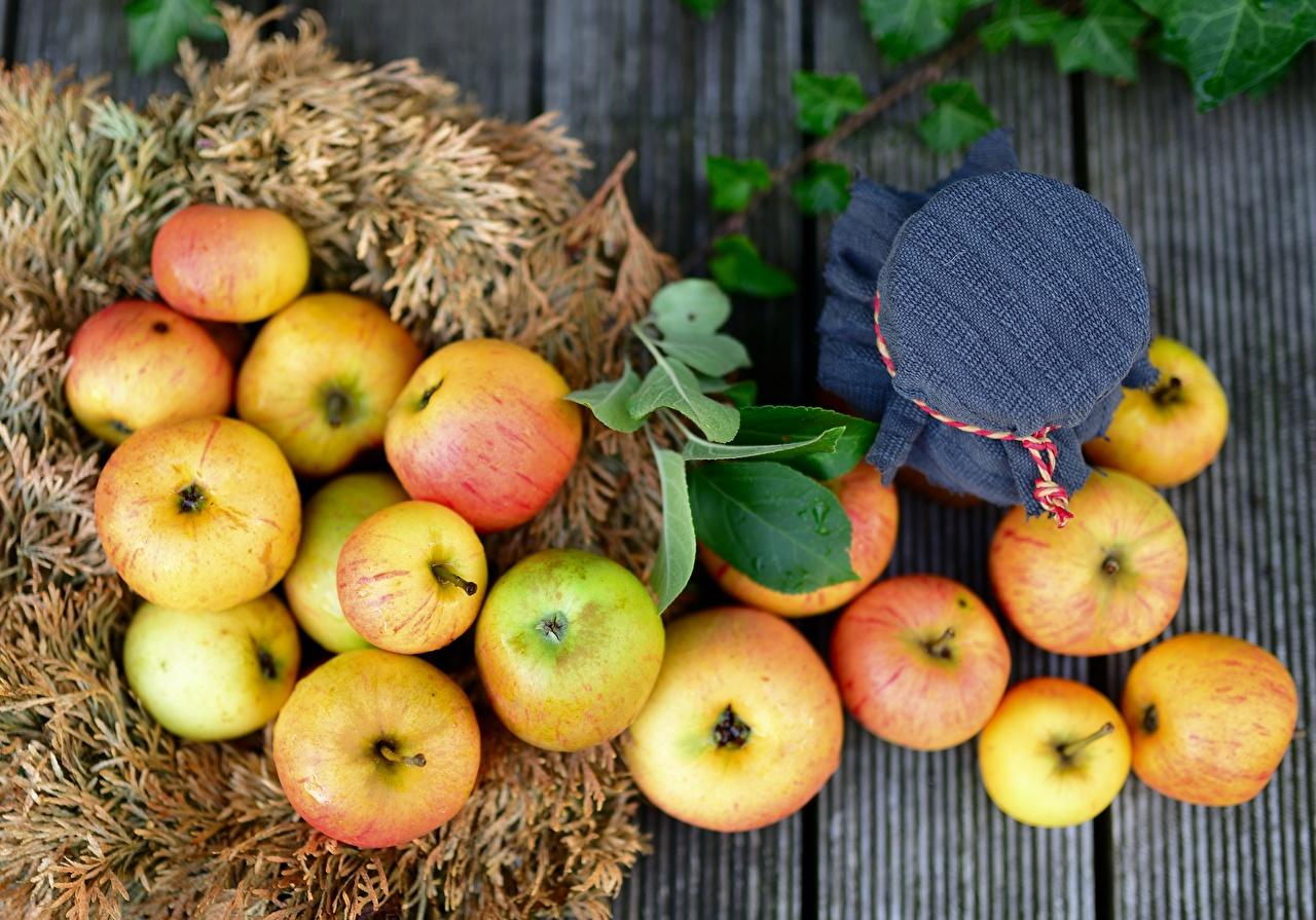 Фотография Листва Яблоки Продукты питания Много лист Листья Еда Пища