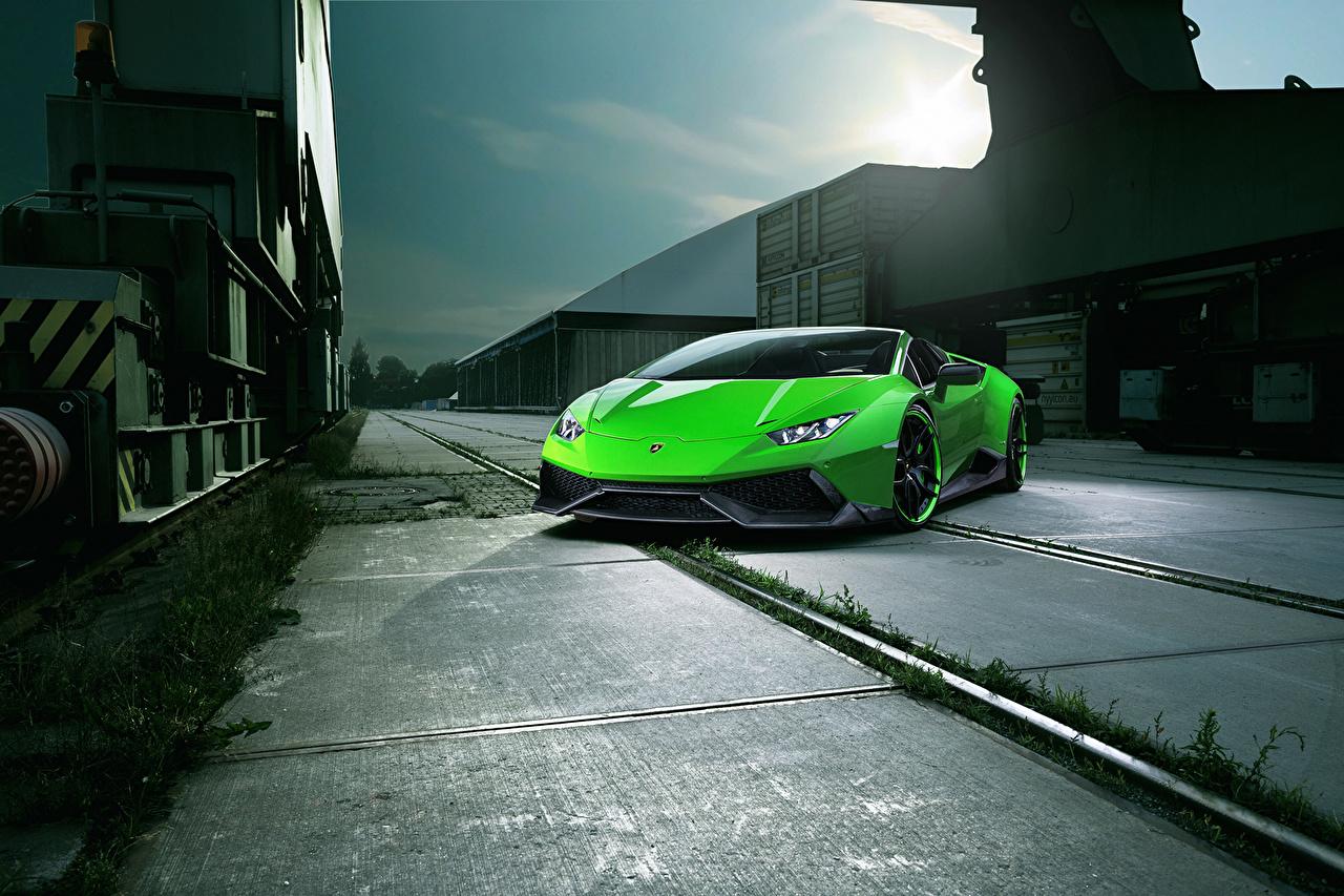 Фотография Ламборгини Huracan Spyder Novitec Torado зеленых Автомобили Lamborghini Зеленый зеленые зеленая авто машина машины автомобиль