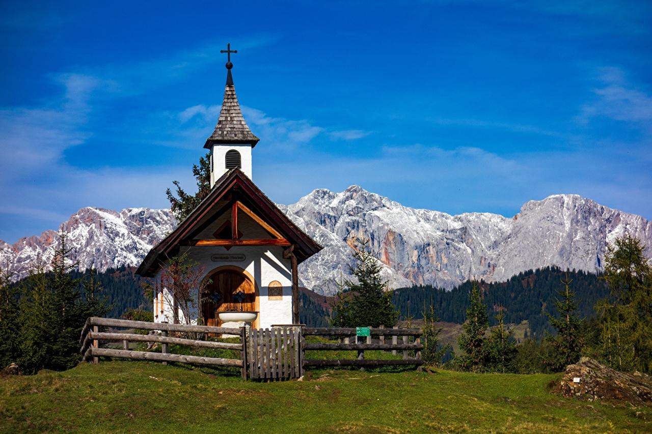 Фото Австрия chapel гора Природа Горы