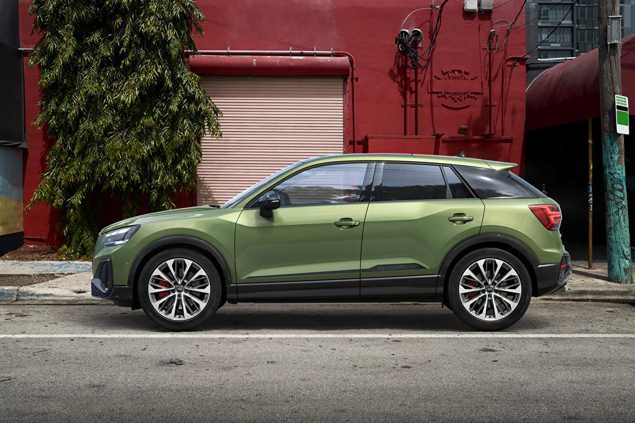 Фото Ауди CUV SQ2, 2020 Зеленый Сбоку Металлик Автомобили Audi Кроссовер зеленая зеленые зеленых авто машины машина автомобиль