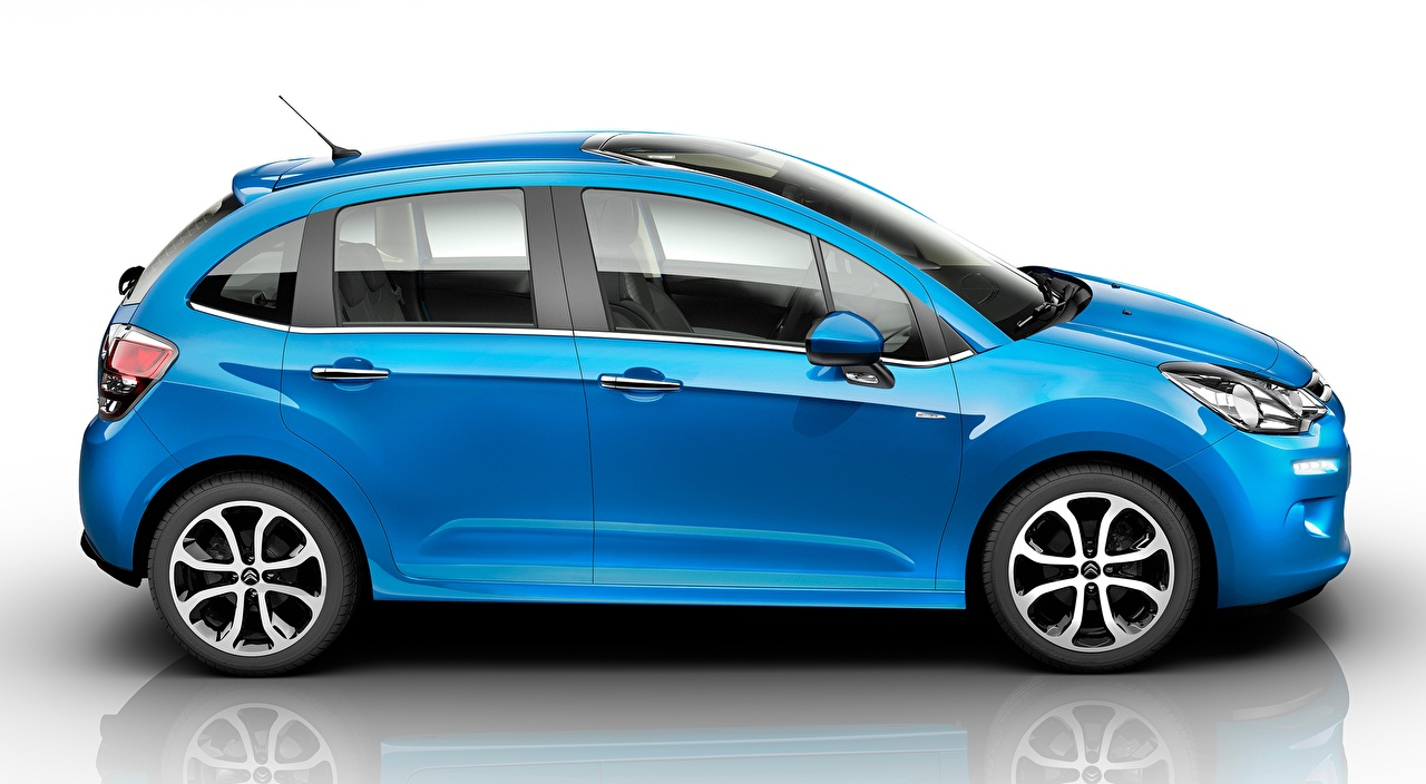 Фото Citroen Hatchback, C3, 2015 синих отражении Сбоку машины Ситроен синяя синие Синий Отражение отражается авто машина Автомобили автомобиль