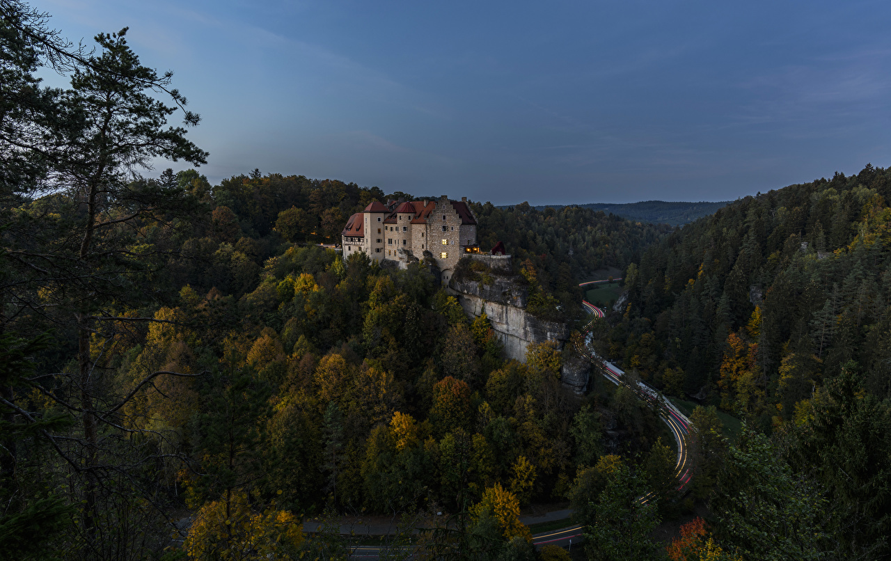 Фотография Германия Burg Rabenstein Замки Природа лес Дороги Вечер замок Леса