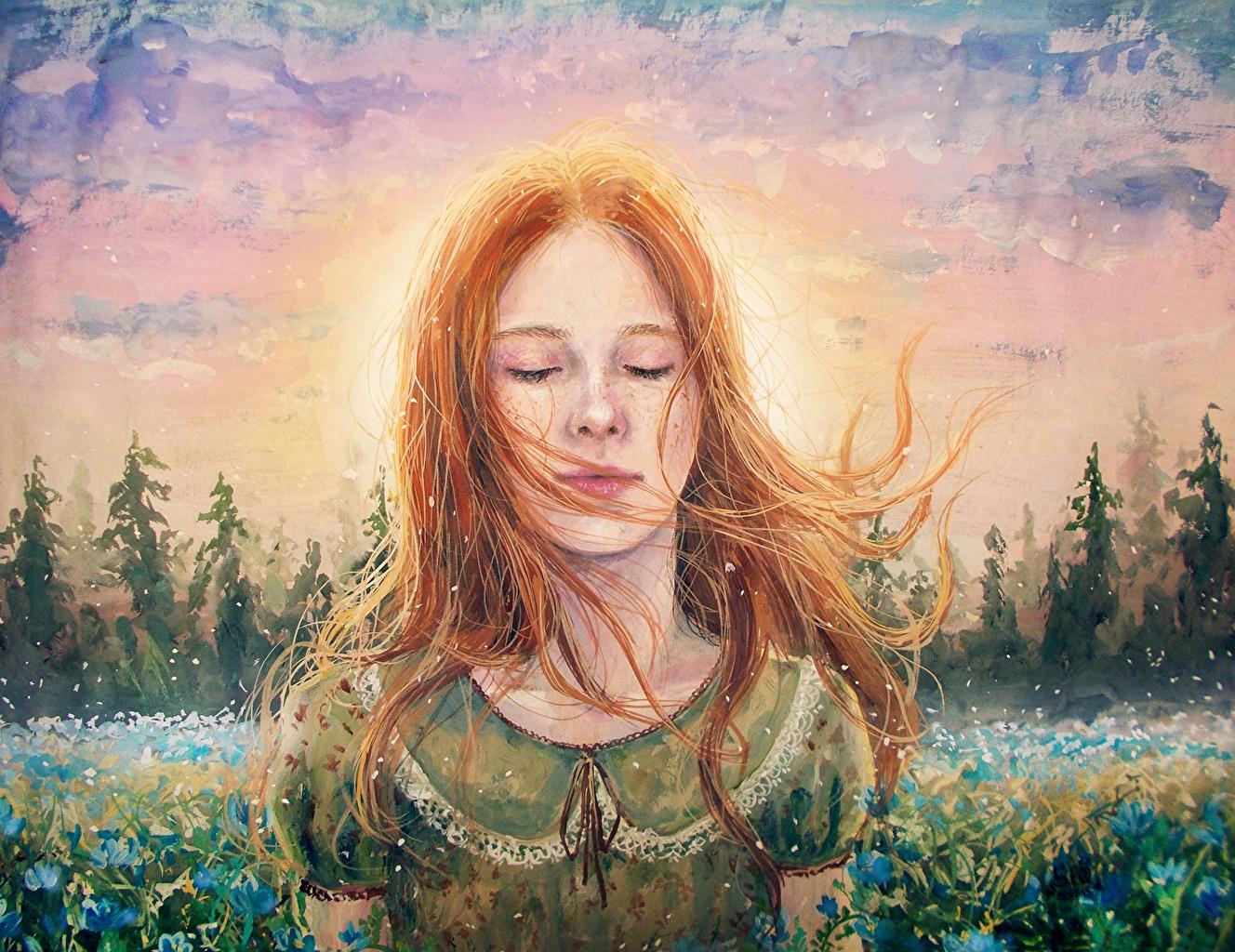 Картинки рыжих Лицо волос Девушки Рисованные рыжие Рыжая лица Волосы девушка молодая женщина молодые женщины