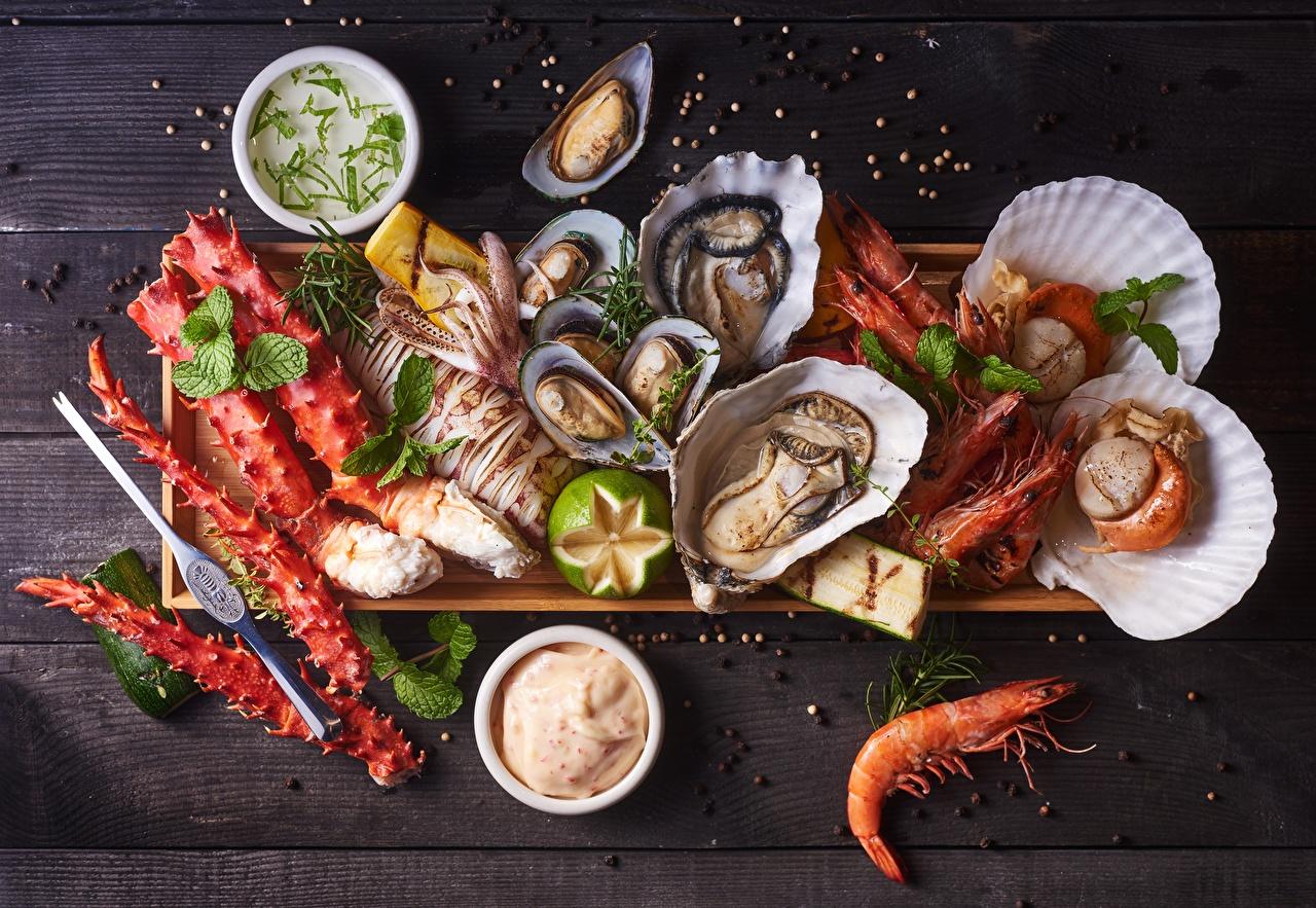 Фотографии Ракушки Креветки Пища Морепродукты Еда Продукты питания
