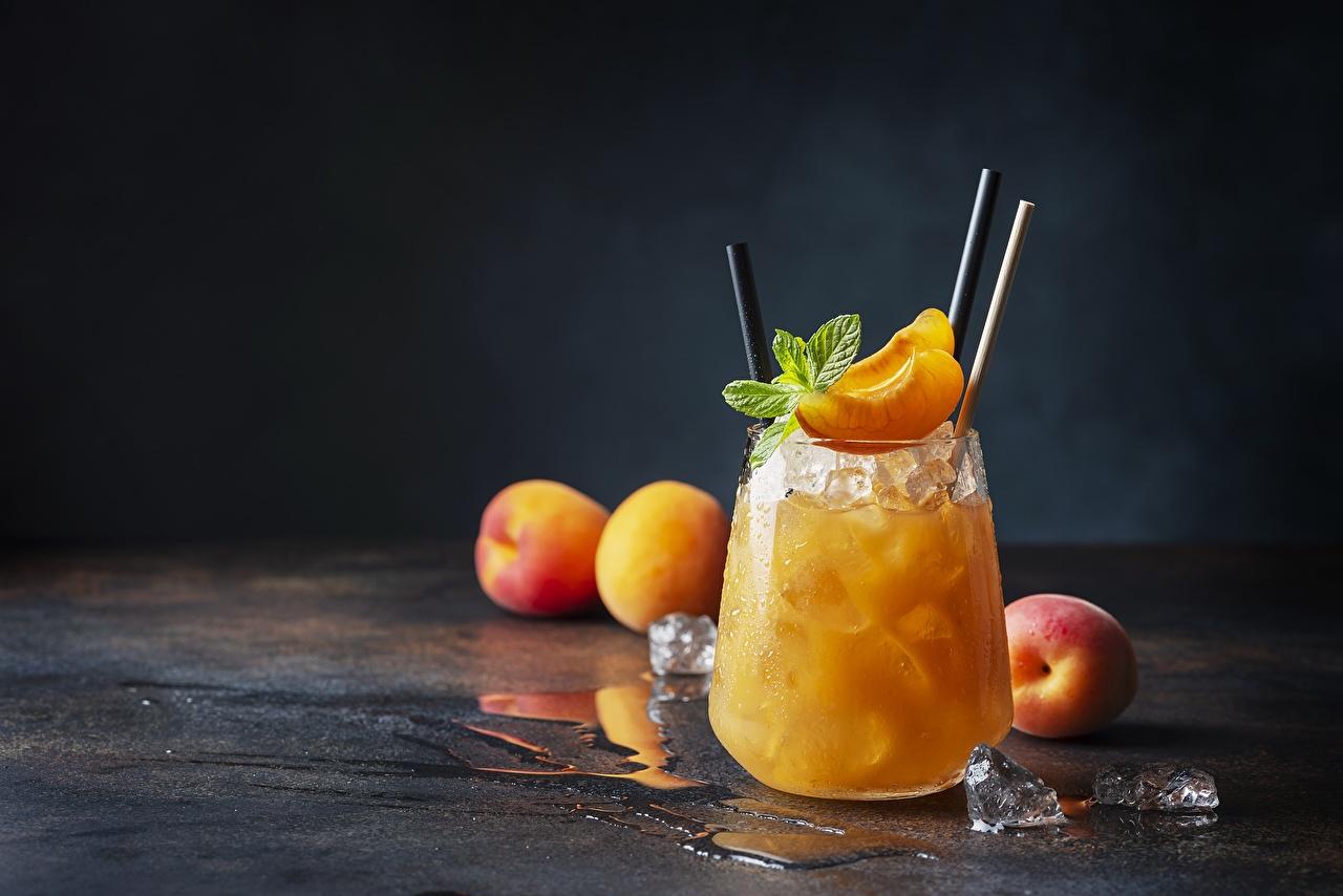 Фото Лед Сок Абрикос Мята стакана Еда льда мяты мятой Стакан стакане Пища Продукты питания