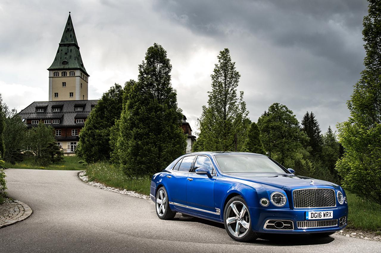 Обои для рабочего стола Бентли 2016 Mulsanne Speed Синий Металлик Автомобили Bentley синих синие синяя авто машина машины автомобиль