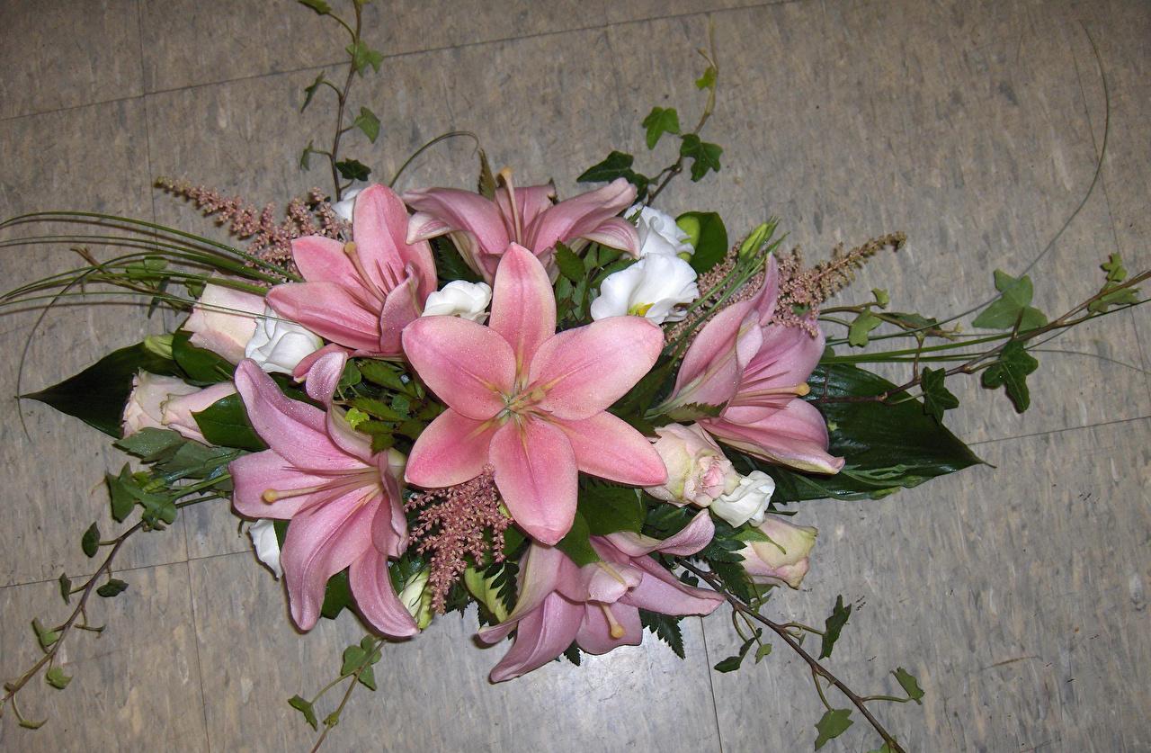 Картинка букет лилия розовых Цветы Букеты Лилии Розовый розовая розовые цветок
