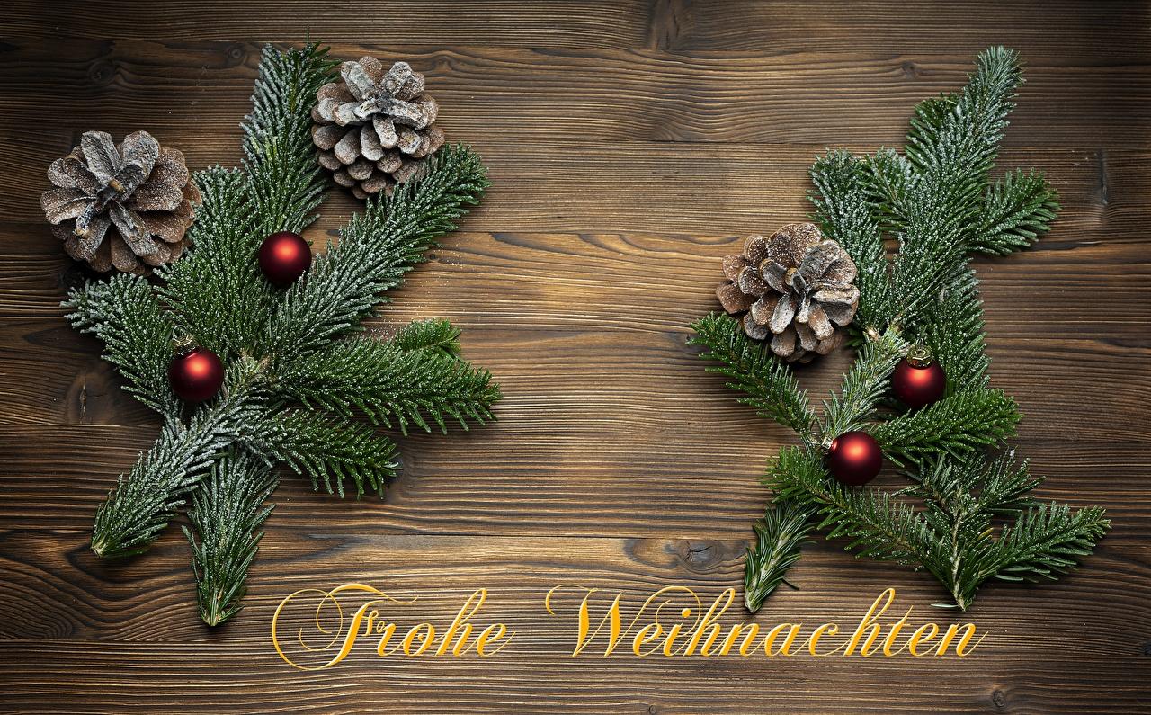 Фотографии Новый год Немецкий Слово - Надпись Ветки шишка Шарики Рождество слова текст Шар ветвь ветка Шишки на ветке