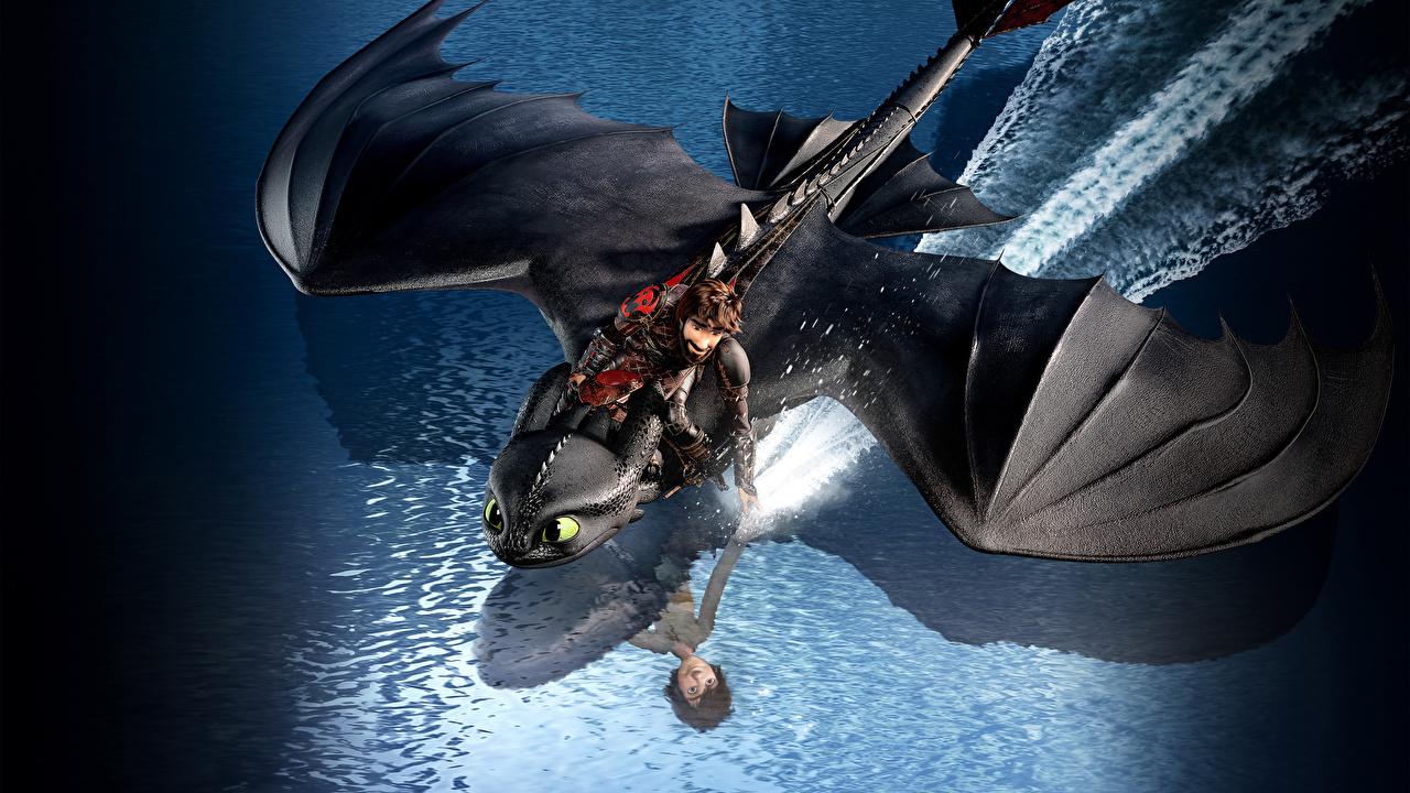 Картинки Как приручить дракона Драконы 3, Icking, Night Fury мультик 3D Графика летящий дракон 3д Мультики Мультфильмы Полет летит летят
