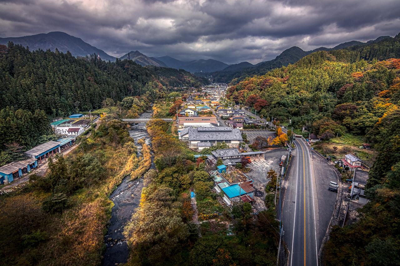 Обои Япония Gunma HDR осенние Леса Дороги Города Здания HDRI Осень Дома