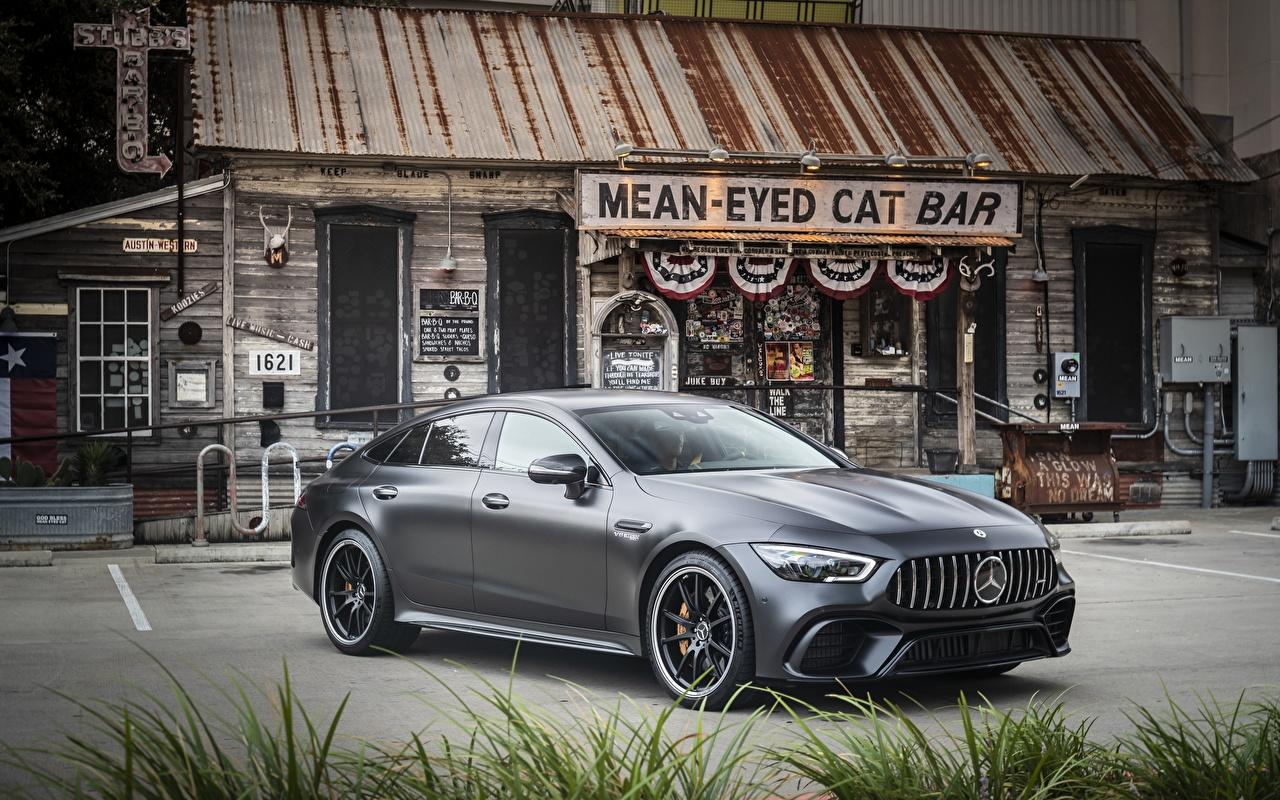 Фотографии Mercedes-Benz AMG GT 63S 4MATIC 4Door Купе серая Автомобили Мерседес бенц Серый серые авто машины машина автомобиль
