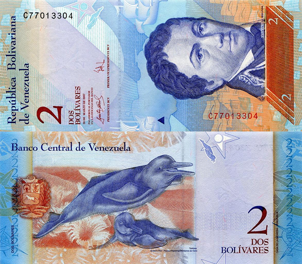 Обои для рабочего стола Купюры Венесуэла 2 bolivar Деньги Банкноты