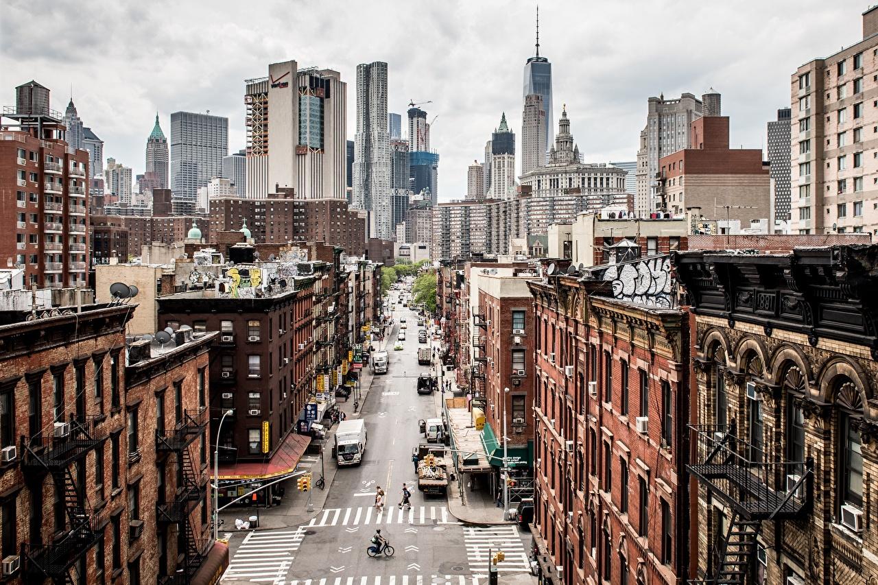 Фотографии Нью-Йорк Манхэттен америка Улица Небоскребы Здания Города США штаты улиц улице Дома город
