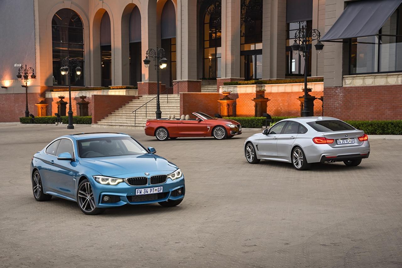 Фотографии BMW 2013-17 Serie 4 машины втроем БМВ три авто Трое 3 машина автомобиль Автомобили