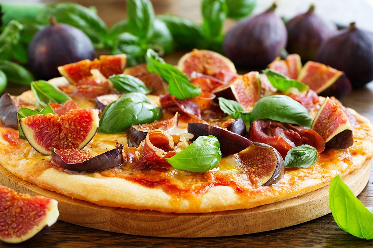 Картинка Инжир Пицца Продукты питания Еда Пища