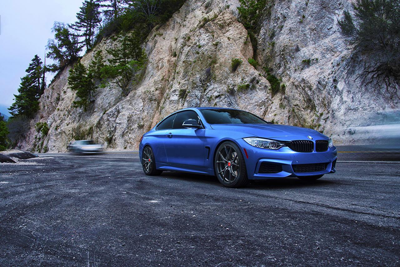Фотографии BMW F82 M4 Coupe Синий Асфальт Автомобили БМВ синяя синие синих авто машины машина асфальта автомобиль