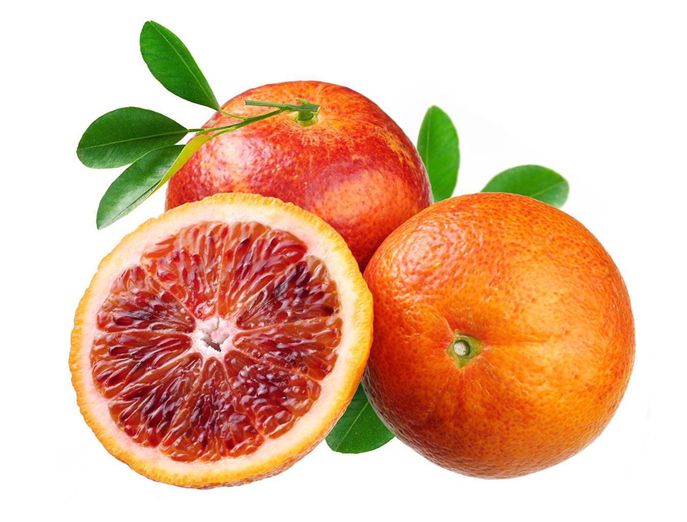 Картинки Апельсин Пища втроем вблизи белым фоном Еда три Трое 3 Продукты питания Белый фон белом фоне Крупным планом