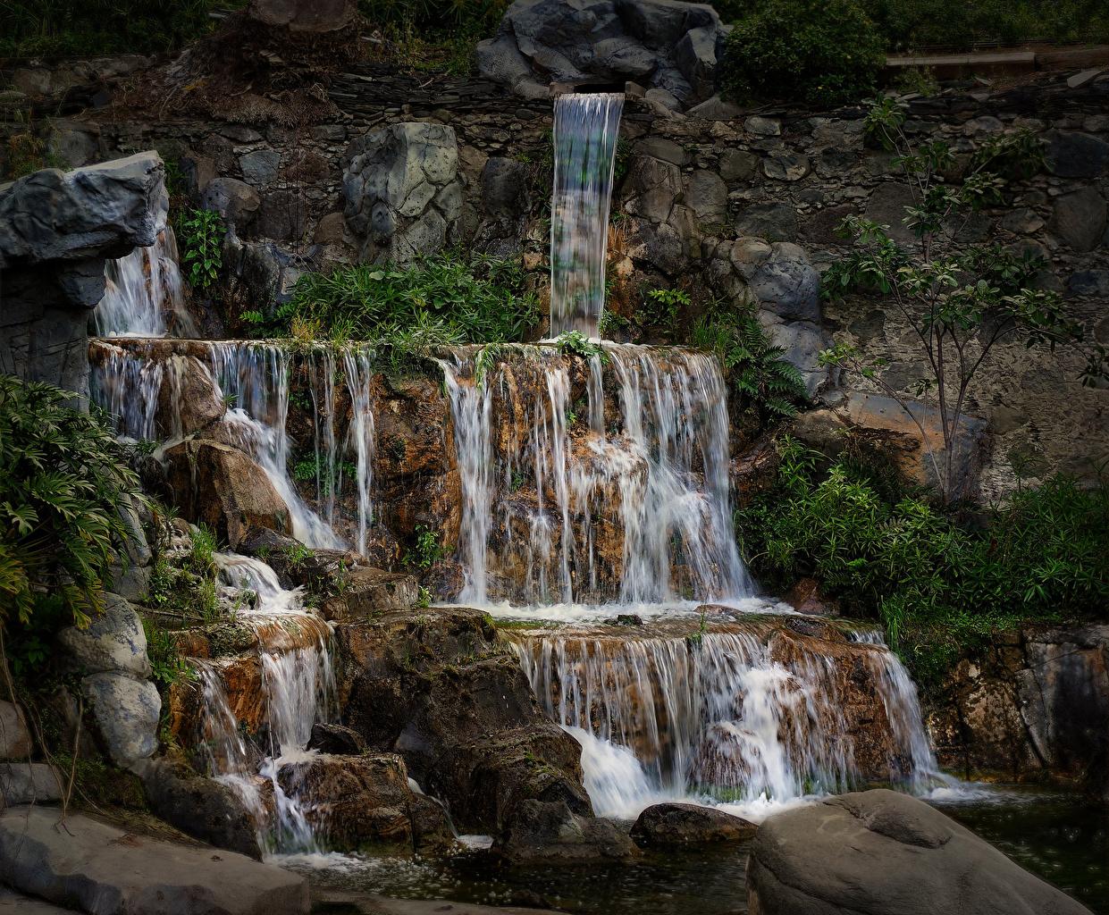 Фото Испания Las Palmas Gran Canaria Скала Природа Водопады Камни Утес скалы скале Камень