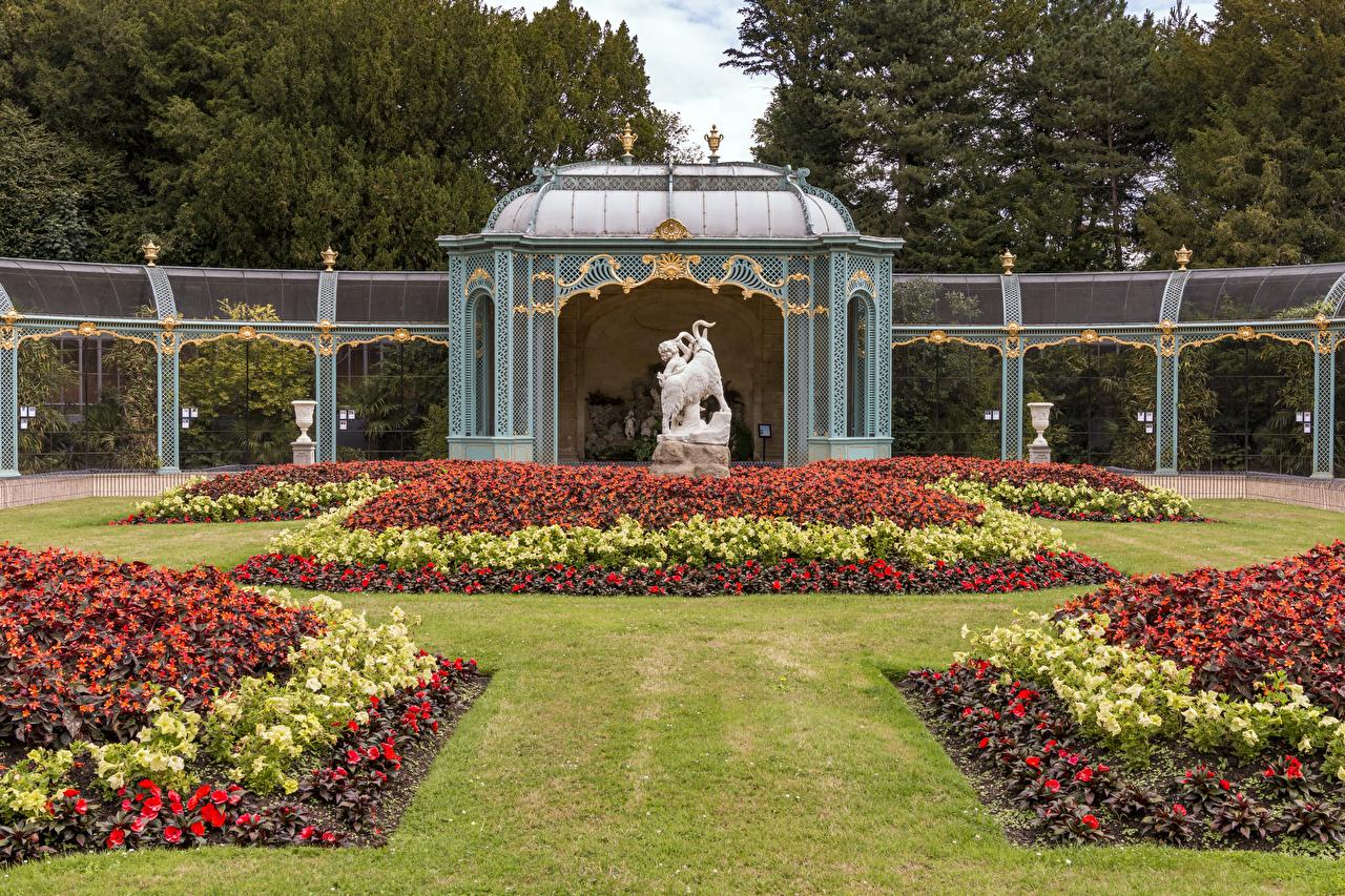 Фотографии Англия Waddesdon Manor Природа парк Бегония Газон Скульптуры Дизайн Парки газоне скульптура дизайна
