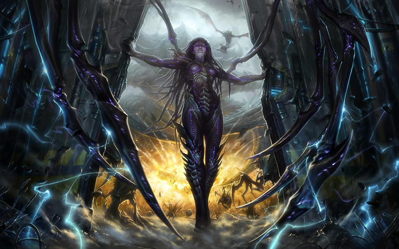 Картинки StarCraft StarCraft 2 Kerrigan, Queen Фантастика Игры Сверхъестественные существа Фэнтези компьютерная игра
